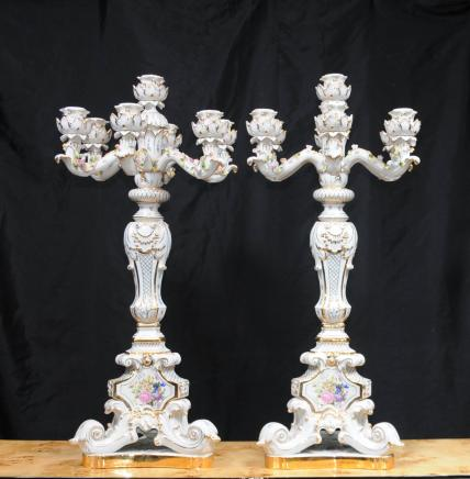 Pair German Dresden Porcelain Candelabras Candles Ceramic Painted
