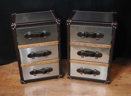 Pair Industrial Nightstands Bedside Chests Tables Cabinets Deco Metal