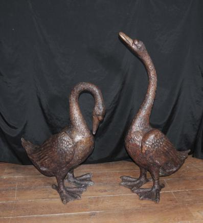 Pair Large Bronze Geese Birds Water Casting Gooose