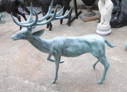 Pair Large Bronze Stags Deer Antlers Garden Animals