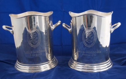 Pair Louis Roederer Silverplate Champagne Buckets
