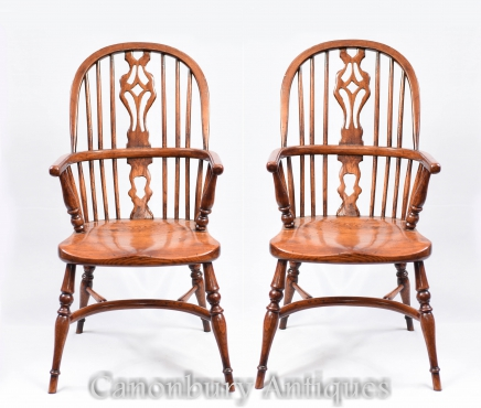 Pair Mini Kids Windsor Rustic Dining Chair Chairs Antique