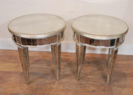 Pair Mirrored Deco Side Tables Tail
