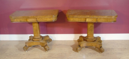 Pair Oak Biedermeier Card Tables Table Games