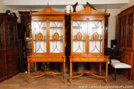 Pair Sheraton Style Satinwood Display Cabinets Bookcases  Furniture
