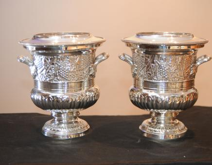 Pair Silver Plate Wine Champagne Buckets Coolers