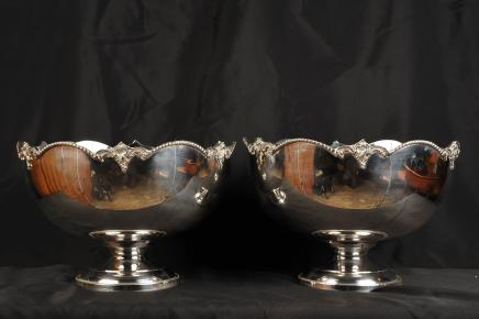 Pair Silver Plated Monteith Punch Bowls Champagne Coolers