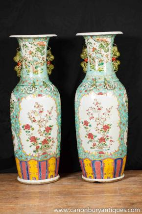 Pair Chinese Porcelain Vases XL Famille Rose Vases Urns Amphora Ceramic Pottery
