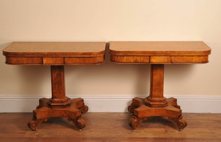 Pr English Elm William 4th Games Card Tables Bullock Base