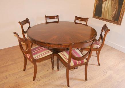 Regency Dining Set Round Table Mahogany Swag Chairs