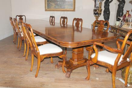 Regency Walnut Dining Set Queen Anne Chairs Table