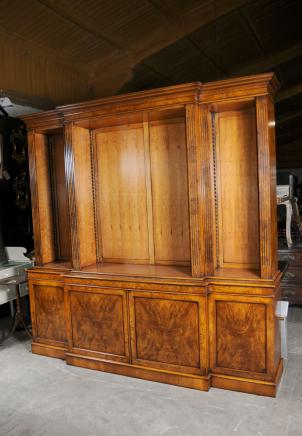 Regency Breakfront Bookcase - Open Walnut Library Bookcases