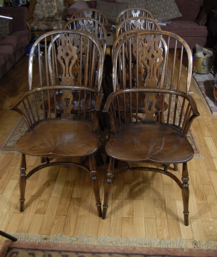 Set Windsor Chairs - 8 Farmhouse Kitchen Chair