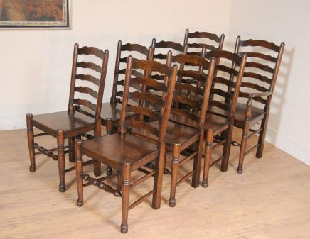 Set 8 Oak Ladderback Chairs Kitchen Dining Chair Farmhouse Furniture - Ladderback Chairs - Farmhouse Kitchen Furniture