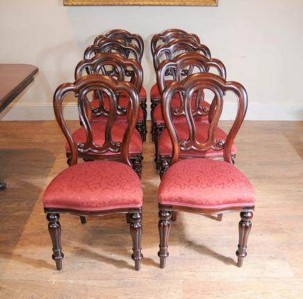 Set Victorian Dining Chairs - Balloon Back Admiralty Diners