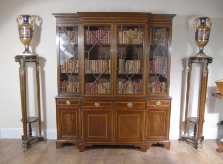 Sheraton Breakfront Bookcase Book Case English Furniture