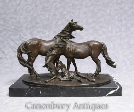 Signed Bronze Horses Pony Foal Statue French Milo