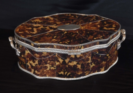 Silverplate & Tortoiseshell Serpentine Jewellery Box Casket