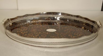 XL Faux Tortoise Shell Silverplate Butlers Tray Platter