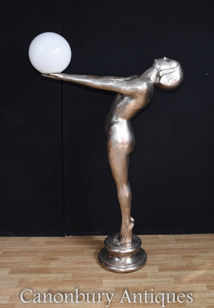 XL Silver Bronze Art Deco Biba Lamp Floor Light Lamps Statue