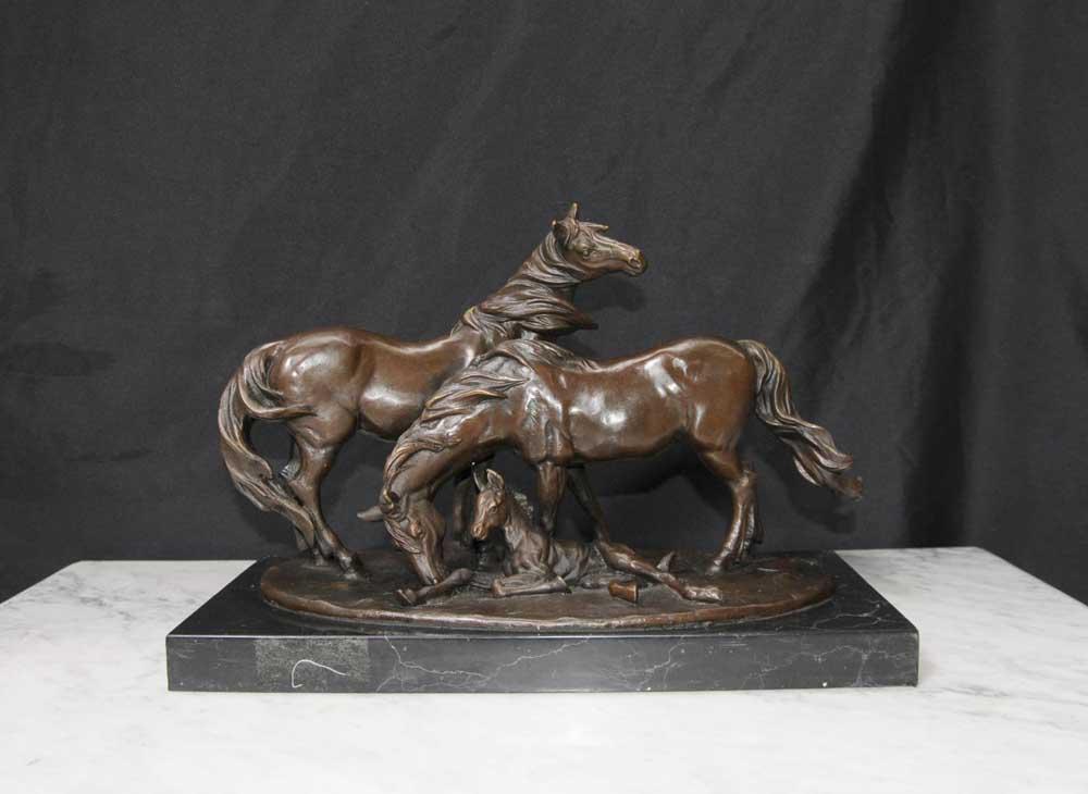 French Bronze Horse And Pony Statue Mene Animals