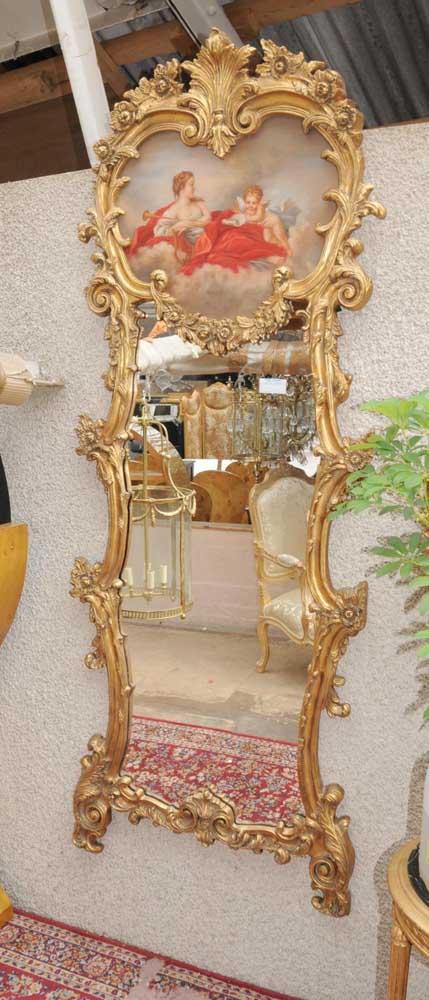 Tall French Rococo Pier Mirror Painted Cherub Panel