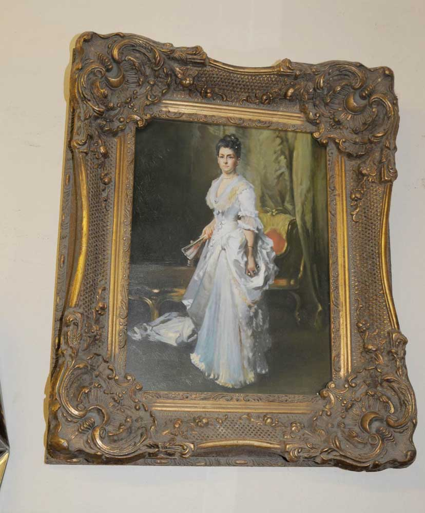 English Oil Painting Victorian Lady Portait Gilt Frame