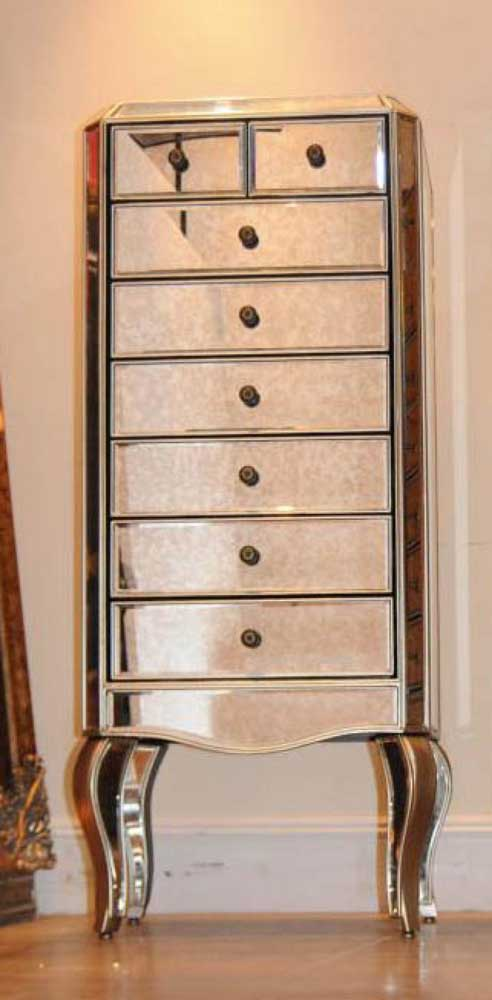 Mirrored Chest Of Drawers Tall Boy Commode