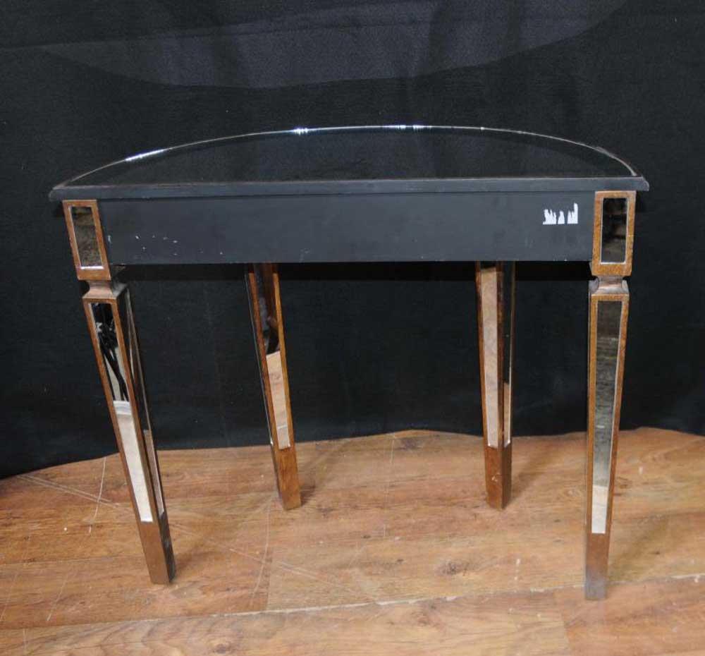 Mirrored Console Table Art Deco Demi Lune Tables