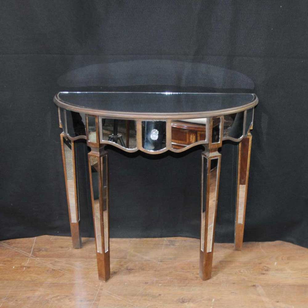 mirrored console table art deco demi lune tables. Black Bedroom Furniture Sets. Home Design Ideas