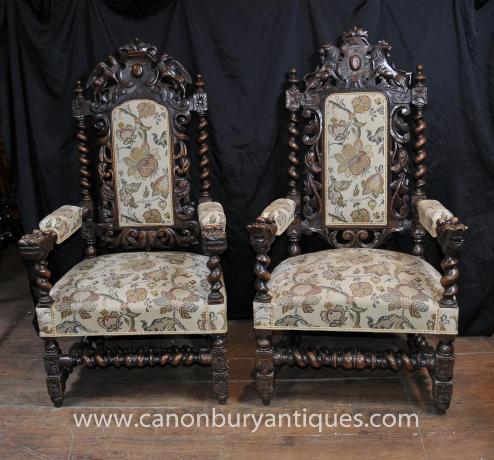 SHIPPING QUOTE - Pair Antique William Mary Oak Arm Chairs Thrones Barley Twist