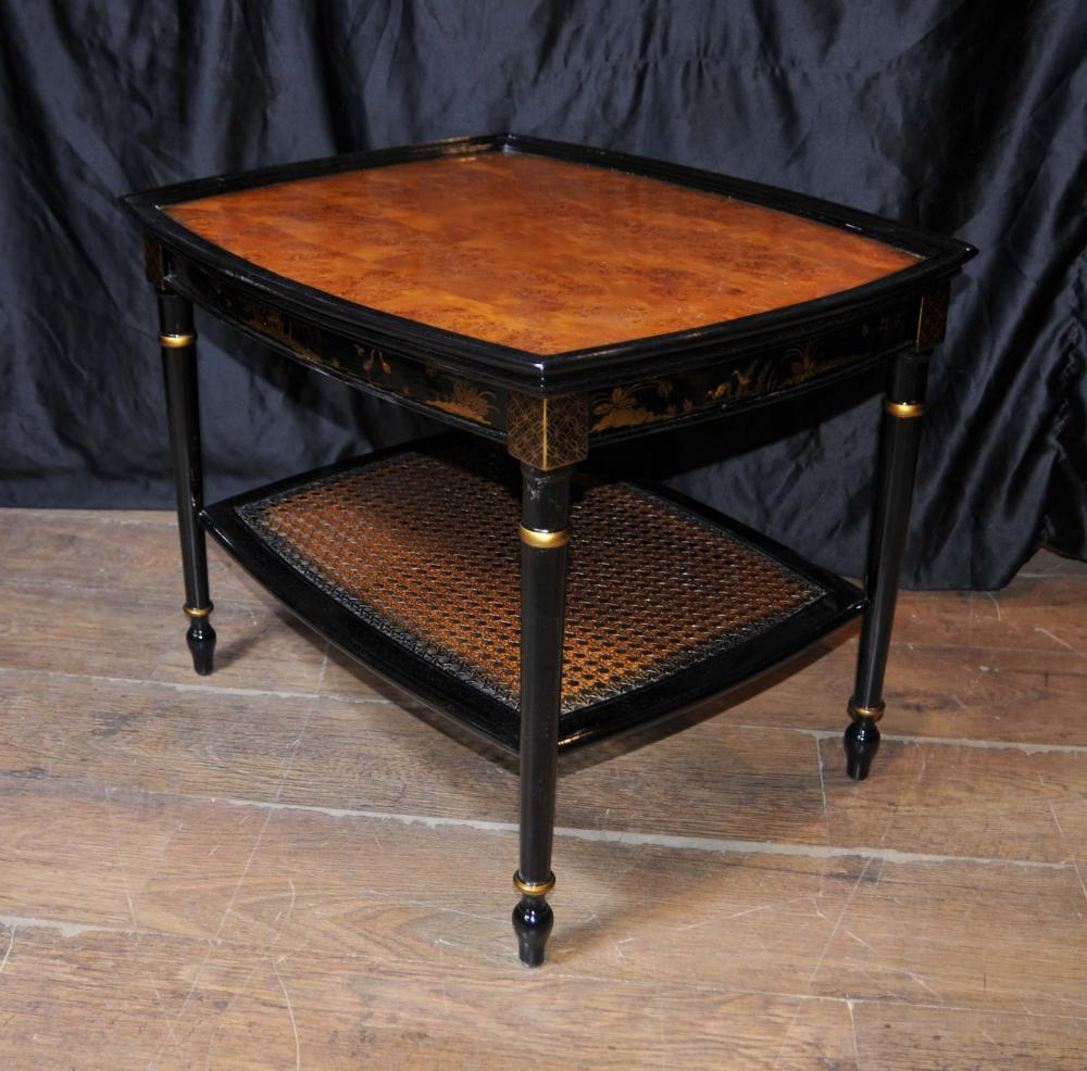 Black Lacquer Coffee Table Uk: French Black Lacquer Side Coffee Tables Chinoiserie