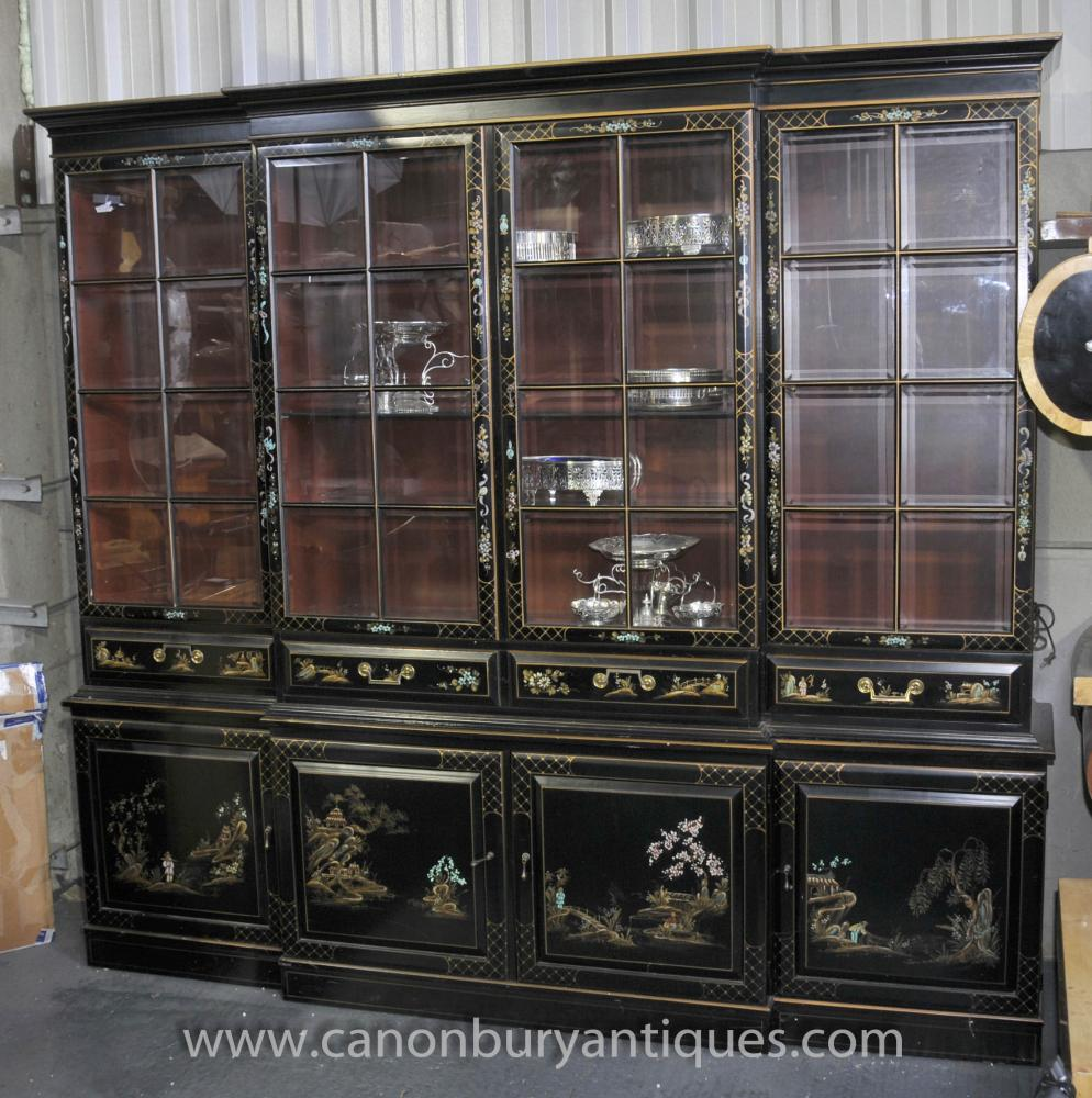Antique Black Lacquer Breakfront Bookcase Chinoiserie
