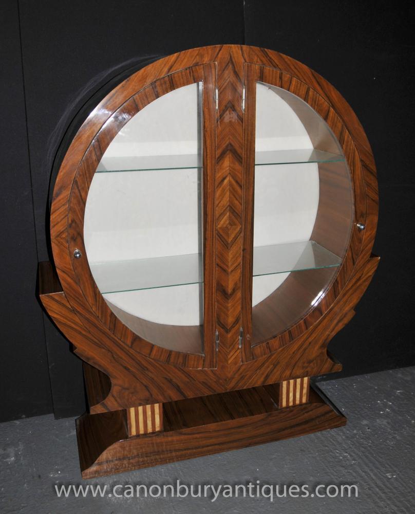 art deco bookcase glass fronted display cabinet rosewood. Black Bedroom Furniture Sets. Home Design Ideas