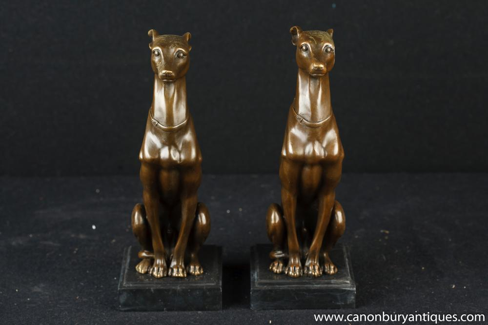 Greyhound Shipping Quote >> Pair French Art Deco Bronze Greyhounds Greyhound Dog Statue