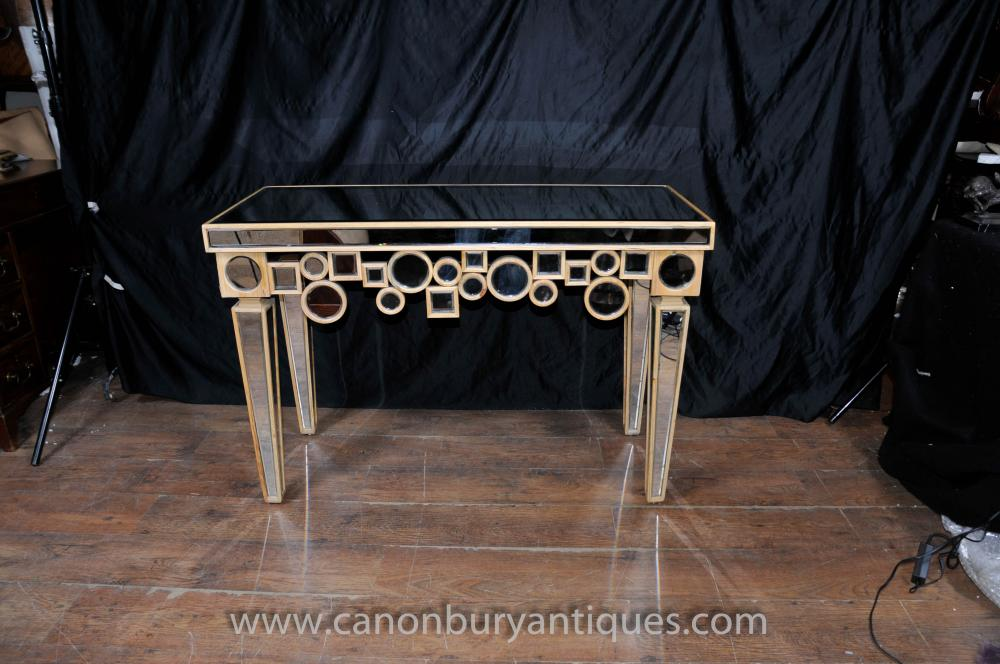 Art deco mirrored console table hall tables borghese furniture - Table console miroir ...