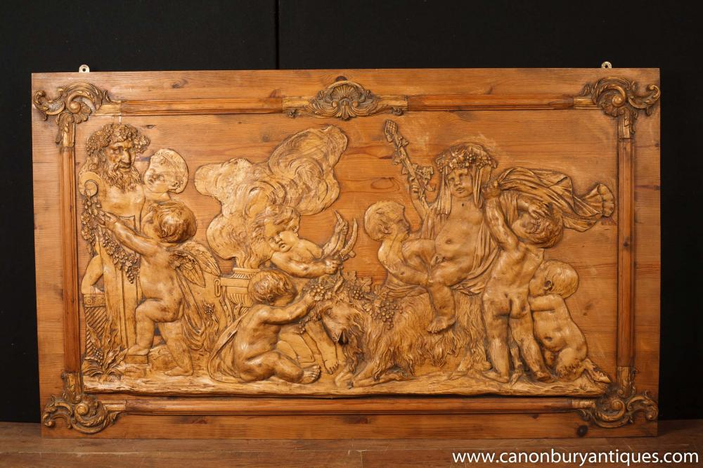 Hand Carved Flemish Pine Cherub Panel Plaque Frieze