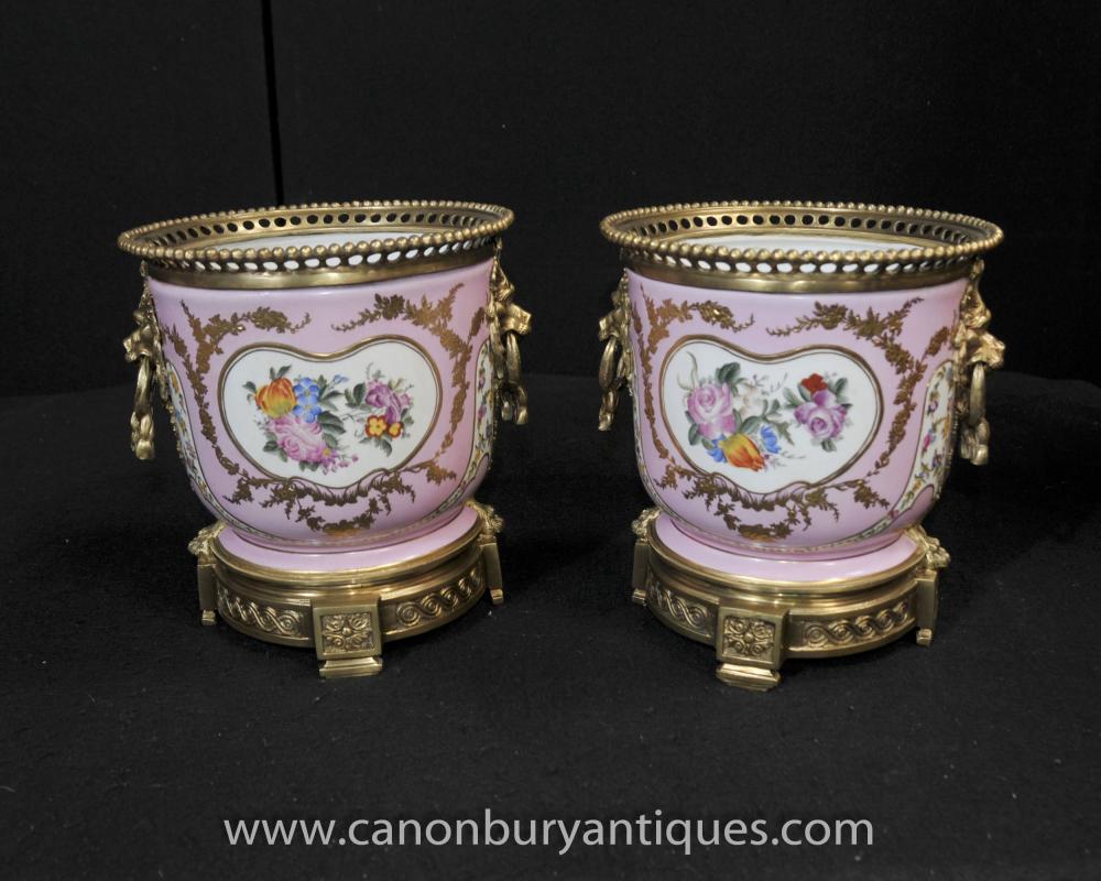 Pair French Sevres Porcelain Cache Pots Floral Planters Bowls