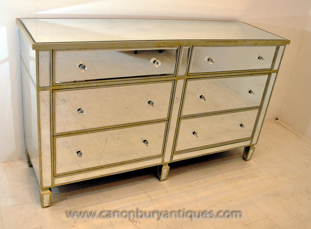 Art Deco Mirrored Double Chest Drawers Commode Furniture Ebay