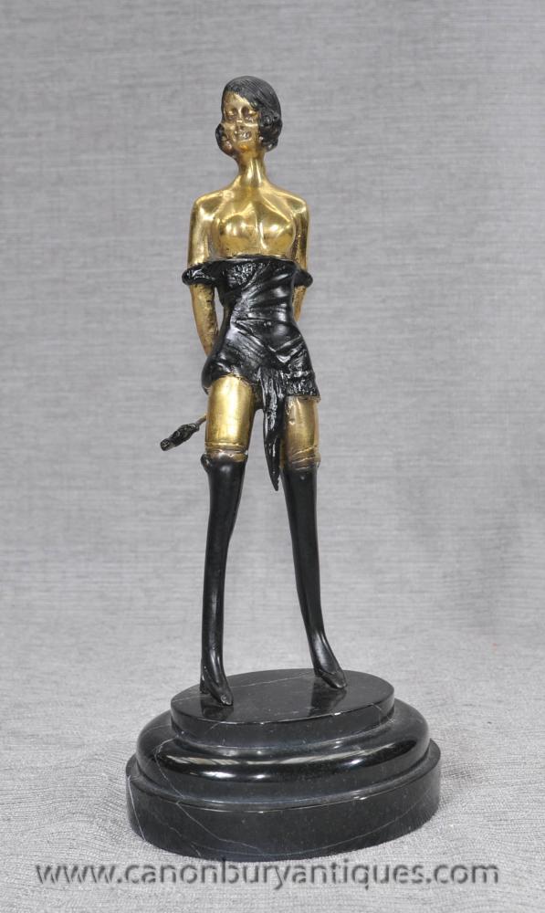 French Bronze Casting Erotic Dominatrix Figurine Whiplash-7659