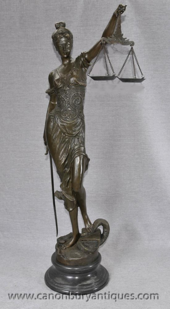 Lady Justice Blind Scale Of Justice Bronze Statue Figurine