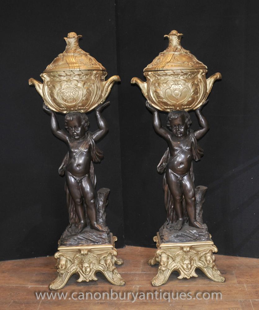 Pair Antique French Bronze Cherub Stands Planters