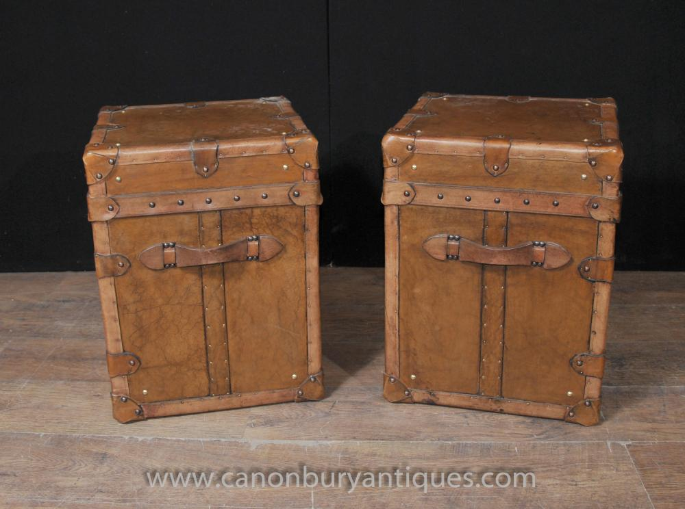 Pair Vintage Steamer Trunk Luggage Bo Side Tables English Leather Trunks
