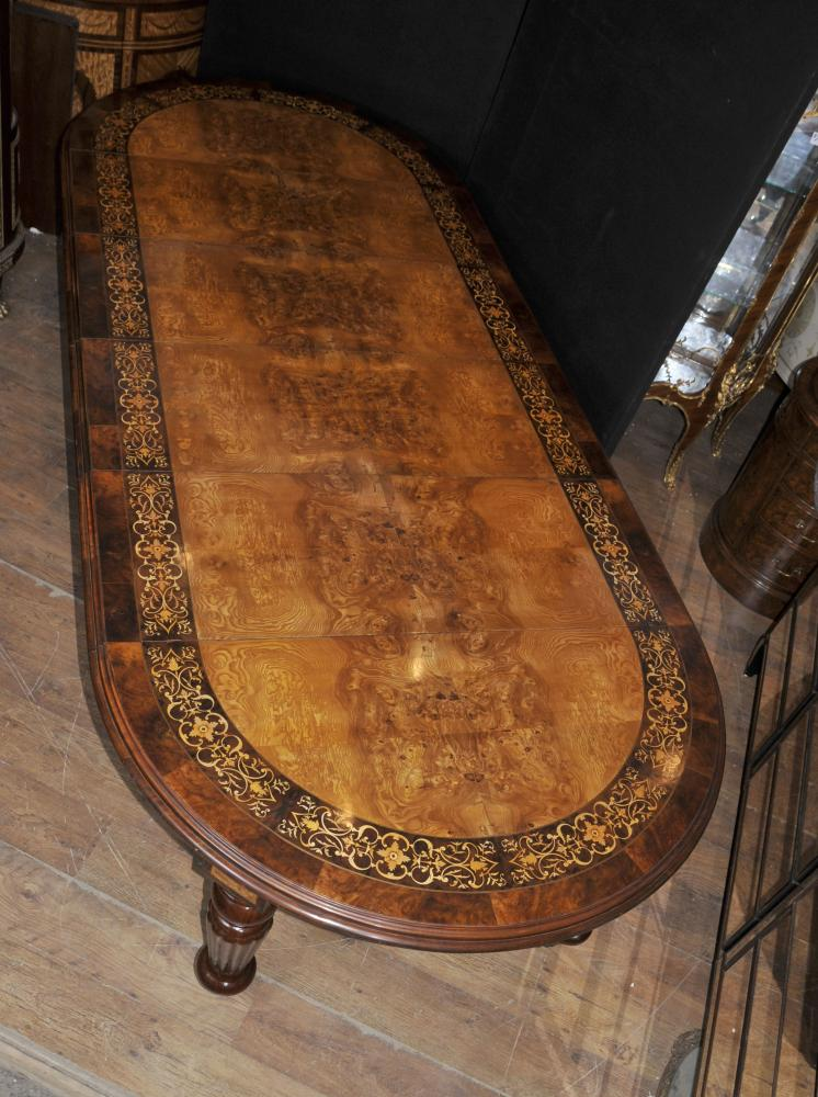 Walnut Victorian Dining Table Marquetry Inlay Extending