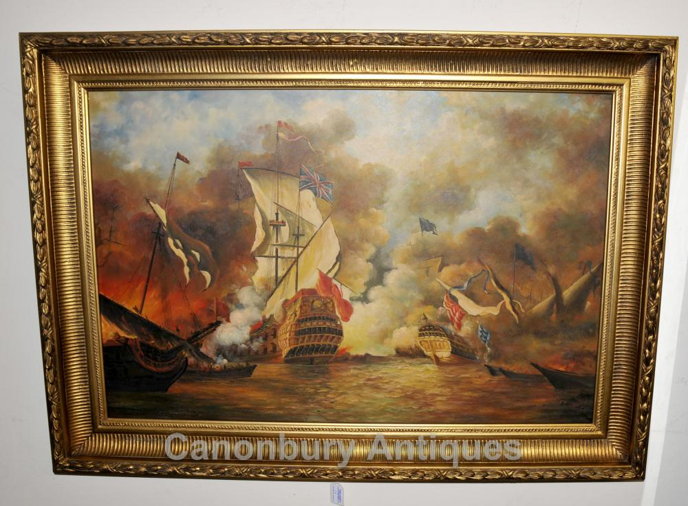 English Oil Painting Battle Scene Spanish Armada Sea Scape
