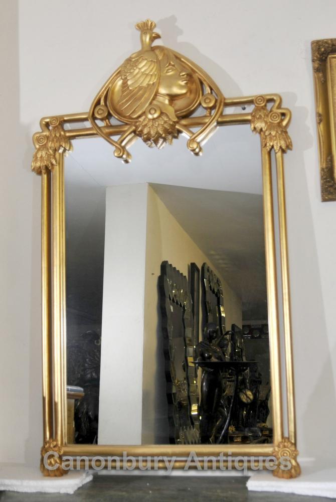 French art nouveau gilt pier mirror glass mirrors frame for Miroir art nouveau