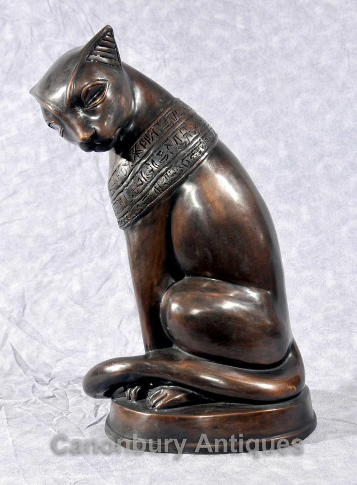 Bronze Egyptian Cat Statue Feline Felus Casting Egypt Cats