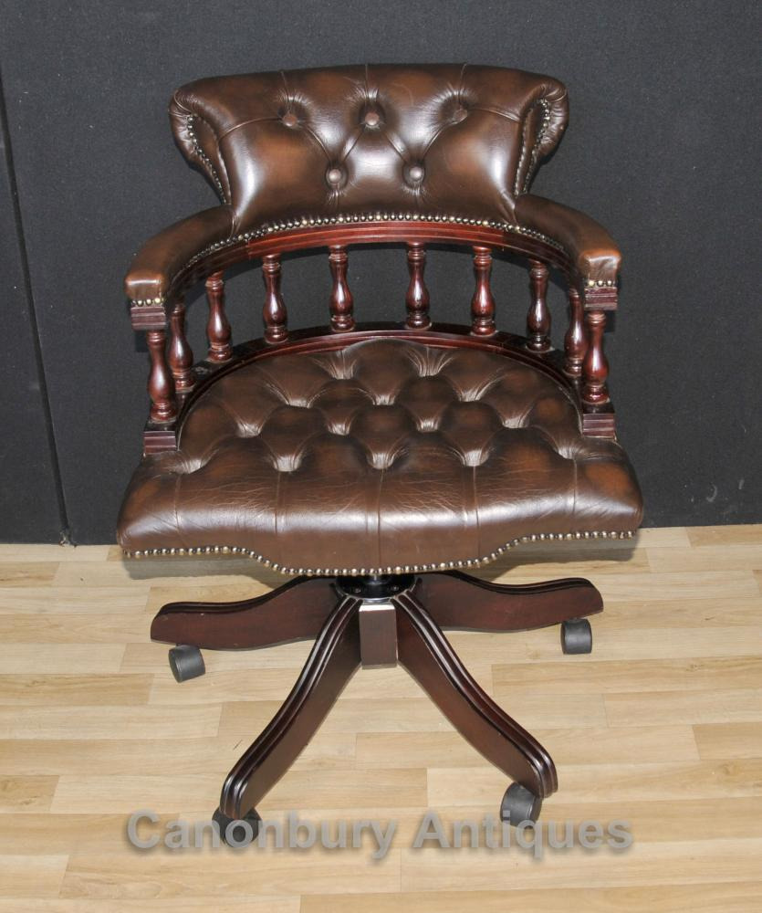 Euro Style Lighting >> Victorian Captains Chair Office Swivel Desk Chairs with Leather