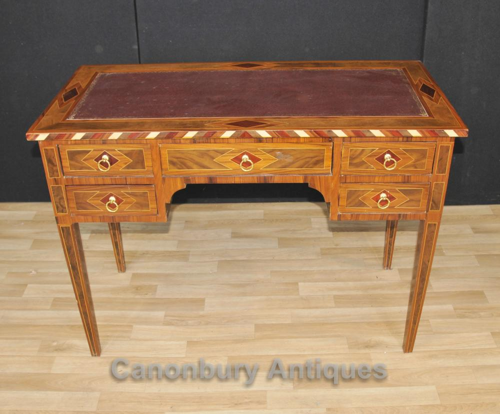 Regency Knee Hole Desk Marquetry Inlay Writing Table Bureau