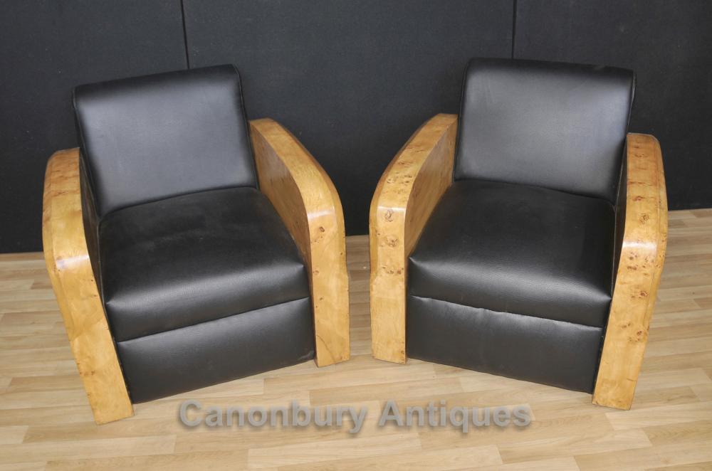 Pair Art Deco Arm Chairs Club Chair Sofa 1920s Lounge